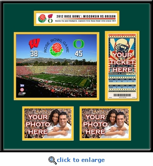 2012 Rose Bowl Ticket Frame - Oregon vs Wisconsin