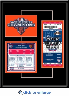 2012 World Series Patch, Roster, and Ticket Frame - San Francisco Giants