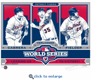 2012 World Series Sports Propaganda Handmade LE Serigraph - Detroit Tigers