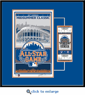 2013 MLB All-Star Game Sports Propaganda Serigraph Ticket Frame - New York Mets
