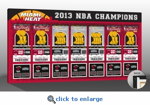 2013 NBA Champions Tickets to History Canvas Print - Miami Heat