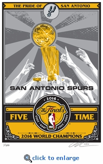 2014�NBA Champs�Trophy Sports Propaganda Serigraph -�San Antonio Spurs