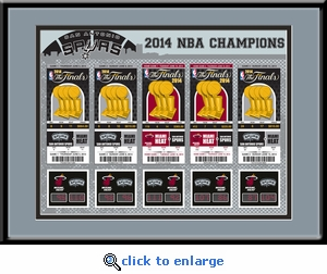 2014 NBA Champions Tickets to History Framed Print - San Antonio Spurs