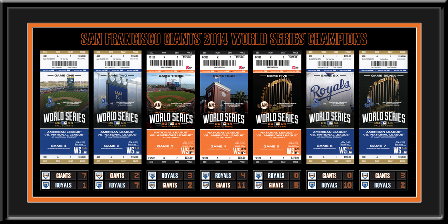 2014 World Series Tickets to History Framed Print - San Francisco Giants