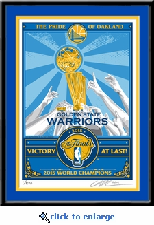 2015 NBA Champions Sports Propaganda Framed Serigraph - Golden State Warriors
