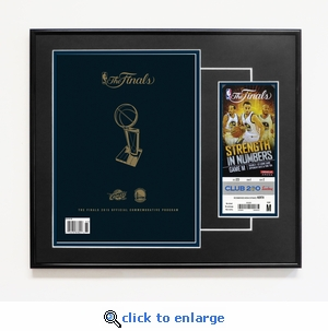 2015 NBA Finals Framed Program Cover Reprint and Ticket - Golden State Warriors