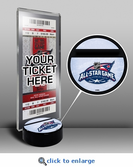 2015 NHL All-Star Game Hockey Puck Ticket Display Stand - Columbus Blue Jackets