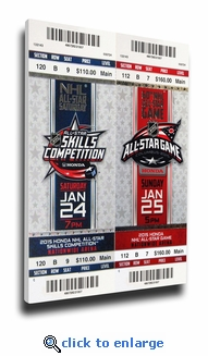 2015 NHL All-Star Game Mega Ticket Strip - Columbus Blue Jackets