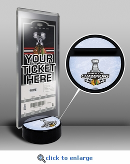 2015 NHL Stanley Cup Champions Hockey Puck Ticket Stand - Chicago Blackhawks