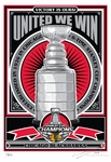 2015 NHL Stanley Cup Champions Sports Propaganda Serigraph - Chicago Blackhawks