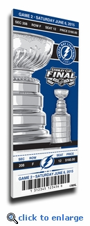 2015 NHL Stanley Cup Final Game 2 Canvas Mega Ticket - Tampa Bay Lightning