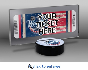 2015 NHL Winter Classic Hockey Puck Ticket Display Stand - Blackhawks vs Capitals