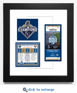 2015 World Series Champions Patch, Roster and Ticket Frame - Kansas City Royals