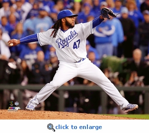 2015 World Series Johnny Cueto Game 2 Action 8x10 Photo - Kansas City Royals