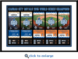 2015 World Series Tickets to History Framed Print - Kansas City Royals