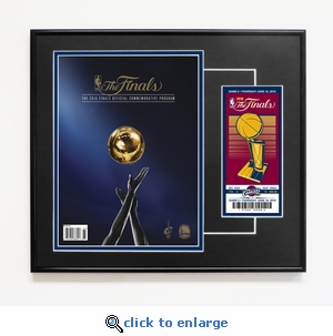 2016 NBA Finals Framed Program Cover Reprint and Commemorative Ticket - Cavaliers
