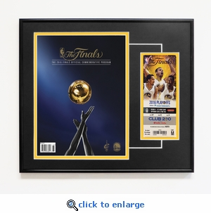 2016 NBA Finals Framed Program Cover Reprint and Ticket - Golden State Warriors