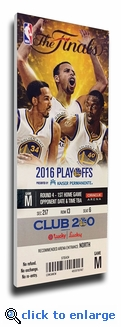2016 NBA Finals Game 1 Canvas Mega Ticket - Golden State Warriors