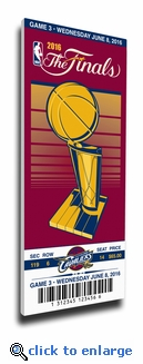 2016 NBA Finals Game 3 Canvas Commemorative Mega Ticket - Cleveland Cavaliers