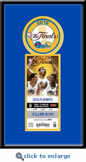 2016 NBA Finals Single Ticket Frame - Golden State Warriors