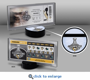 2016 NHL Stanley Cup Champions Hockey Puck Stand with Commemorative Ticket - Pittsburgh Penguins