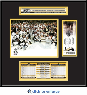 2016 NHL Stanley Cup Champions Ticket Frame Jr - Pittsburgh Penguins