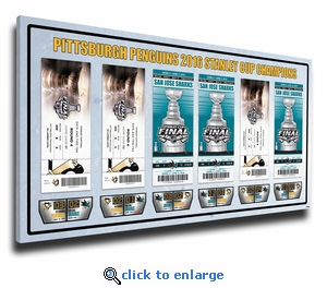 2016 NHL Stanley Cup Champions Tickets to History Canvas Print - Pittsburgh Penguins