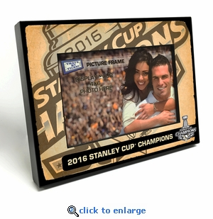 2016 NHL Stanley Cup Champions Black Wood Edge 4x6-inch Picture Frame - Pittsburgh Penguins