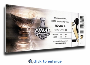 2016 NHL Stanley Cup Final Game 2 Canvas Mega Ticket - Pittsburgh Penguins