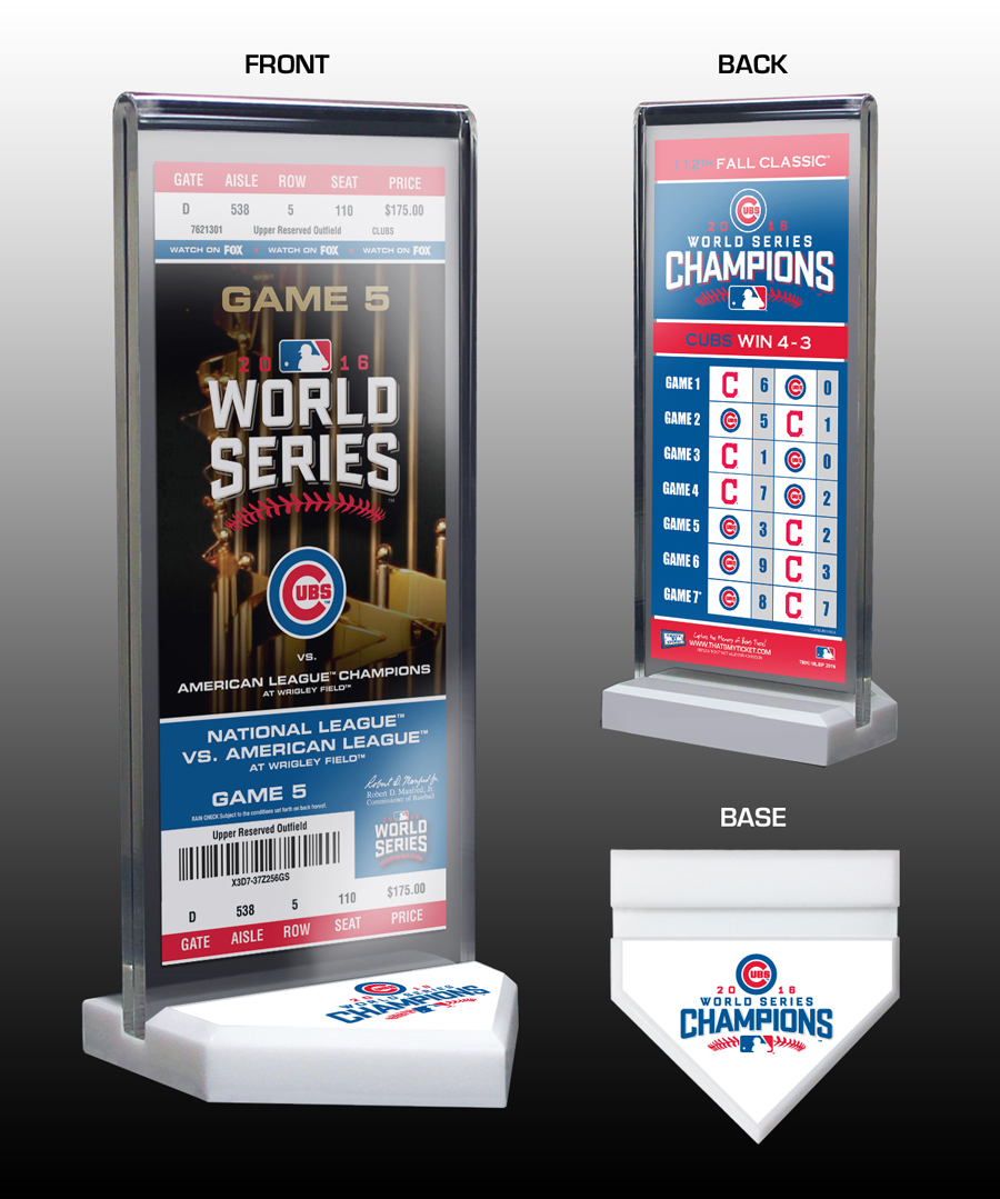2016 World Series Champions Commemorative Ticket Display Chicago Cubs 8