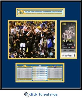 2017 NBA Finals Champions Ticket Frame Jr - Golden State Warriors