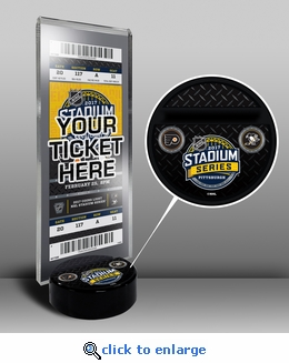 2017 NHL Stadium Series Hockey Puck Ticket Stand - Flyers vs Penguins