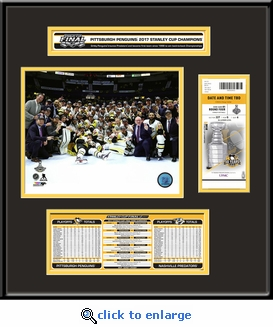 2017 NHL Stanley Cup Champions Ticket Frame Jr - Pittsburgh Penguins