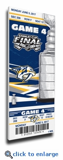 2017 NHL Stanley Cup Final Game 4 Canvas Mega Ticket - Nashville Predators