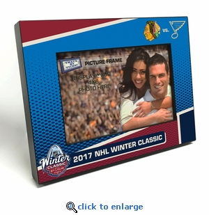 2017 NHL Winter Classic 4x6-inch Black Wood Edge Picture Frame - Blackhawks vs Blues