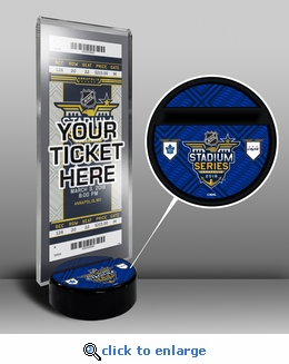 2018 NHL Stadium Series Hockey Puck Ticket Display Stand - Maple Leafs vs Capitals