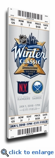 2018 NHL Winter Classic Canvas Mega Ticket - Rangers vs Sabres