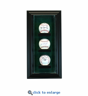 3 Baseball Vertical Cabinet Display Case - Black