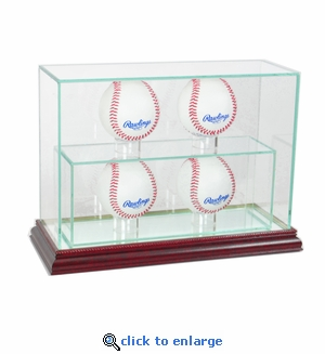 4 Baseball Upright Display Case - Cherry