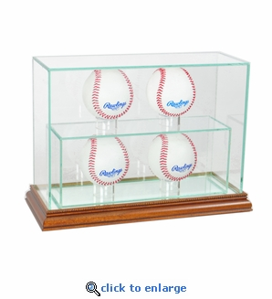 4 Baseball Upright Display Case - Walnut