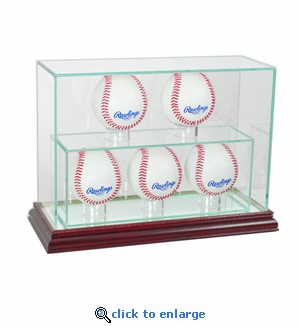 5 Baseball Upright Display Case - Cherry