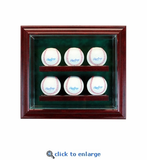 6 Baseball Cabinet Style Display Case - Cherry