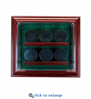 6 Hockey Puck Cabinet Style Display Case - Cherry