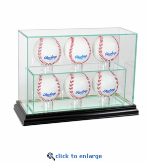 6 Baseball Upright Display Case - Black