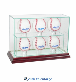 6 Baseball Upright Display Case - Cherry