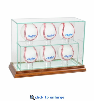 6 Baseball Upright Display Case - Walnut