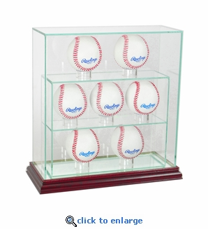 7 Baseball Upright Display Case - Cherry