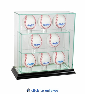 8 Baseball Upright Glass Display Case - Black