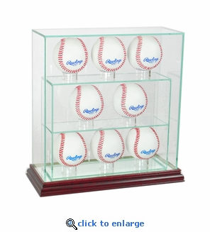 8 Baseball Upright Glass Display Case - Cherry