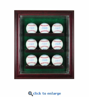 9 Baseball Cabinet Style Display Case - Cherry